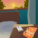Χαιρετίστε πίσω στη σχολική πώληση το υπόβαθρο με το ξυπνητήρι, διανυσματική απεικόνιση Στοκ Εικόνες