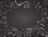 Χαιρετίστε πίσω στις προμήθειες σχολικών τάξεων το σημειωματάριο Doodles Στοκ Εικόνες