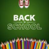 Χαιρετίστε πίσω στο σχολείο τη διανυσματική απεικόνιση Σχέδιο καρτών Στοκ Εικόνες