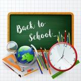 Χαιρετίστε πίσω στο σχολείο το υπόβαθρο με το σχολικό εξοπλισμό Στοκ φωτογραφίες με δικαίωμα ελεύθερης χρήσης