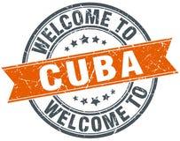 Χαιρετίστε στην Κούβα το πορτοκαλί στρογγυλό γραμματόσημο διανυσματική απεικόνιση