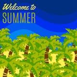 Χαιρετίστε στο καλοκαίρι την απλή επίπεδη κάρτα ελεύθερη απεικόνιση δικαιώματος