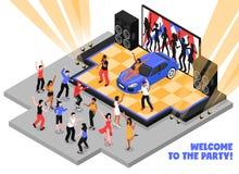 Χαιρετίστε στο κόμμα τη Isometric απεικόνιση ελεύθερη απεικόνιση δικαιώματος