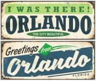 Χαιρετισμοί από την εκλεκτής ποιότητας πινακίδα του Ορλάντο Φλώριδα απεικόνιση αποθεμάτων