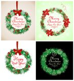 Χαιρετισμοί εποχής με το στεφάνι Χριστουγέννων Στοκ Εικόνες