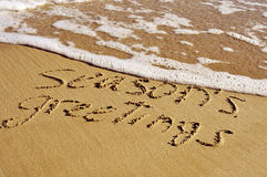 Χαιρετισμοί εποχών στην παραλία, με μια αναδρομική επίδραση στοκ εικόνα