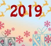 2019 χαιρετισμοί καλής χρονιάς Χρωματισμένο διακοπές υπόβαθρο, σχέδιο μορφής φυσαλίδων Αστεία απομονωμένα ψηφία, υπόβαθρο του 201 διανυσματική απεικόνιση