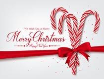 Χαιρετισμοί Χαρούμενα Χριστούγεννας στο ρεαλιστικό τρισδιάστατο κάλαμο καραμελών διανυσματική απεικόνιση