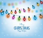 Χαιρετισμοί Χριστουγέννων στα ρεαλιστικά τρισδιάστατα ζωηρόχρωμα φω'τα Χριστουγέννων διανυσματική απεικόνιση