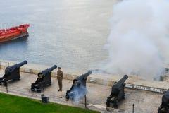Χαιρετισμός βουτυρώδης στους ανώτερους κήπους Barracca Valletta στη Μάλτα στοκ φωτογραφίες