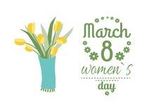 Χαιρετισμός για τις κυρίες, στις 8 Μαρτίου, κίτρινο διάνυσμα τουλιπών διανυσματική απεικόνιση