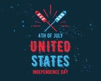 Χαιρετισμός ημέρας της ανεξαρτησίας Ιουλίου τέταρτος, ενωμένος δηλωμένος διανυσματική απεικόνιση