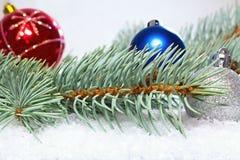 Χαιρετισμός και κάρτα Χριστουγέννων Χριστουγέννων Κλάδος του άσπρου πεύκου με τις σφαίρες Χριστουγέννων τα Χριστούγεννα διακοσμού Στοκ φωτογραφία με δικαίωμα ελεύθερης χρήσης