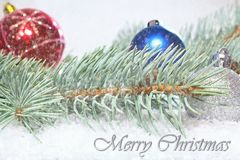 Χαιρετισμός και κάρτα Χριστουγέννων Χριστουγέννων με την επιγραφή Κλάδος του άσπρου πεύκου με τις σφαίρες Χριστουγέννων τα Χριστο Στοκ Εικόνες