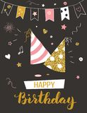 χαιρετισμός καρτών γενεθλίων ευτυχής στοκ φωτογραφία