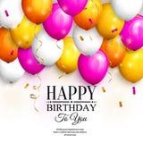 χαιρετισμός καρτών γενεθλίων ευτυχής Ζωηρόχρωμα μπαλόνια κόμματος, χρυσές ταινίες, κομφετί και μοντέρνη εγγραφή διάνυσμα απεικόνιση αποθεμάτων
