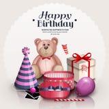 χαιρετισμός καρτών γενεθλίων ευτυχής Μπαλόνι κόμματος, καπέλο κομμάτων, teddy αρκούδα διανυσματική απεικόνιση