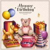 χαιρετισμός καρτών γενεθλίων ευτυχής Σωρός των ζωηρόχρωμων τυλιγμένων κιβωτίων δώρων Τα μέρη παρουσιάζουν και παιχνίδια Μπαλόνια  Στοκ Εικόνες