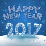 Χαιρετισμός καλής χρονιάς 2017 στο υπόβαθρο χιονιού Στοκ εικόνες με δικαίωμα ελεύθερης χρήσης