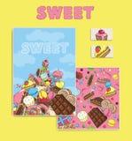 χαιρετισμός καλή χρονιά καρτών του 2007 Γλυκό σχέδιο μαρκαρίσματος Γλυκές καθορισμένες κάρτες σχεδίου Sw Στοκ φωτογραφία με δικαίωμα ελεύθερης χρήσης
