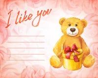 χαιρετισμός καλή χρονιά καρτών του 2007 Το Teddy αφορά με ένα δώρο ένα υπόβαθρο των ρόδινων τριαντάφυλλων Διανυσματική απεικόνιση απεικόνιση αποθεμάτων