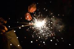 χαιρετισμός Πυροτεχνήματα sparklers Στοκ Φωτογραφία