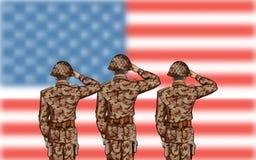 Χαιρετισμός στρατιωτών στο τέταρτο του υποβάθρου Ιουλίου για την ευτυχή ημέρα της ανεξαρτησίας της Αμερικής Στοκ φωτογραφία με δικαίωμα ελεύθερης χρήσης