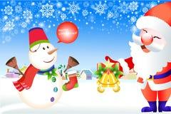 Χαιρετισμός Χριστουγέννων Άγιου Βασίλη και του χιονανθρώπου - διανυσματικό eps10 απεικόνιση αποθεμάτων