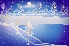 χαιρετισμός Χριστουγέννων καρτών Αστικό τοπίο επαρχίας χειμερινού χιονιού Στοκ Εικόνες