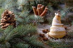 χαιρετισμός Χριστουγέννων καρτών Αχλάδι που ψήνεται στη ζύμη Στοκ φωτογραφία με δικαίωμα ελεύθερης χρήσης