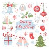 χαιρετισμός Χριστουγέννων καρτών Διανυσματικό σύνολο στοιχείων Χριστουγέννων ελεύθερη απεικόνιση δικαιώματος