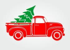 χαιρετισμός Χριστουγέννων καρτών Εκλεκτής ποιότητας επανάλειψη, φορτηγό με το χριστουγεννιάτικο δέντρο διανυσματική απεικόνιση