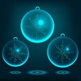 χαιρετισμός Χριστουγέννων καρτών Σφαίρες Χριστουγέννων φιαγμένες από γυαλί Διάνυσμα ι Στοκ Φωτογραφία