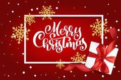 χαιρετισμός Χριστουγέννων καρτών Χαρούμενα Χριστούγεννα που γράφουν, κόκκινη διανυσματική απεικόνιση υποβάθρου, με ένα κιβώτιο δώ Στοκ Φωτογραφίες