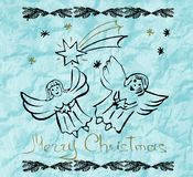 χαιρετισμός Χριστουγέννων καρτών background colors holiday red yellow άγγελοι χαριτωμένοι Χέρι δ Στοκ Φωτογραφίες