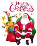 χαιρετισμός Χριστουγένν&ome Άγιος Βασίλης κάθεται στην καρέκλα, τη βοηθητική νεράιδα και μια ανοικτή τσάντα με τα δώρα διανυσματική απεικόνιση