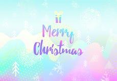 χαιρετισμός Χριστουγένν&ome λογότυπο, διακριτικό Τετραγωνική αφίσα Ζωηρόχρωμο σχέδιο τυπογραφίας Διάνυσμα χειμερινού υποβάθρου Στοκ Φωτογραφίες