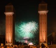 Χαιρετισμός Plaza de Espana στη νύχτα Στοκ εικόνες με δικαίωμα ελεύθερης χρήσης