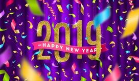 Χαιρετώντας απεικόνιση καλής χρονιάς 2019 Ακτινοβολήστε χρυσοί αριθμοί και πολύχρωμο κομφετί σε ένα ιώδες υπόβαθρο κουρτινών διανυσματική απεικόνιση