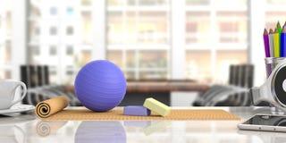 Χαλί άσκησης και pilates σφαίρα σε ένα γραφείο γραφείων, επιχειρησιακό υπόβαθρο θαμπάδων τρισδιάστατη απεικόνιση διανυσματική απεικόνιση