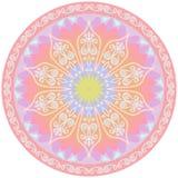 Χαλί γιόγκας με το mandala λουλουδιών και το σχέδιο του Paisley δρύινο διάνυσμα προτύπων κορδελλών φύλλων δαφνών συνόρων απεικόνιση αποθεμάτων
