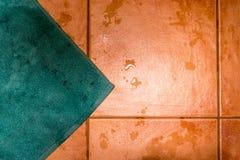 Χαλί λουτρών κιρκιριών στο υγρό κεραμωμένο πάτωμα Στοκ Φωτογραφίες