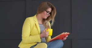 Χαλαρωμένος καφές κατανάλωσης γυναικών και ανάγνωση του βιβλίου απόθεμα βίντεο