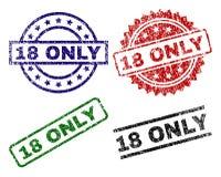 Χαλασμένες κατασκευασμένες 18 ΜΟΝΟ σφραγίδες γραμματοσήμων Διανυσματική απεικόνιση