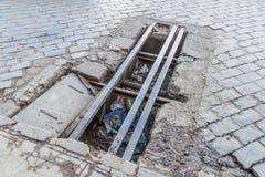 Χαλασμένος δρόμος στο Λα Παζ στοκ φωτογραφία με δικαίωμα ελεύθερης χρήσης