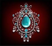 Χαλκός κρεμαστών κοσμημάτων με την τυρκουάζ πέτρα, το μπλε και άσπρο διαμάντι Στοκ Εικόνες
