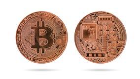 Χαλκός bitcoin που απομονώνεται στο λευκό στοκ φωτογραφίες