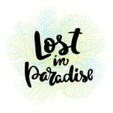 χαμένος παράδεισος Γραπτή χέρι αφίσα τυπογραφίας απεικόνιση αποθεμάτων