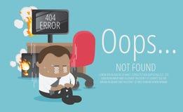 Χαμένος υπολογιστής του αφρικανικού επιχειρηματία για μην βριαλμένη σελίδων το λάθος διανυσματική απεικόνιση