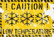 Χαμηλή θερμοκρασία, παγετός, χειμερινό προειδοποιητικό σημάδι, διάνυσμα διανυσματική απεικόνιση